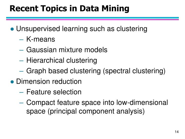 Recent Topics in Data Mining