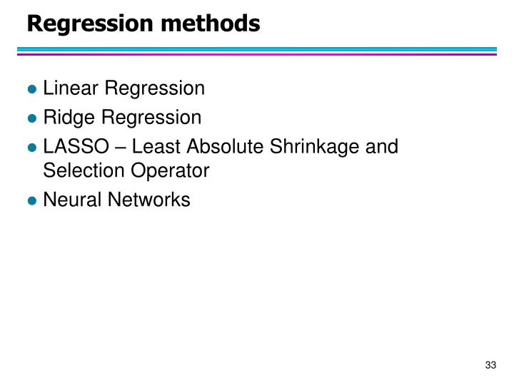 Regression methods