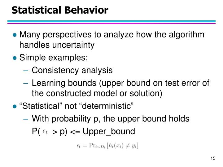Statistical Behavior