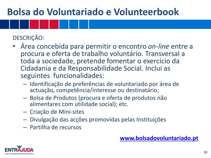 Bolsa do Voluntariado e Volunteerbook