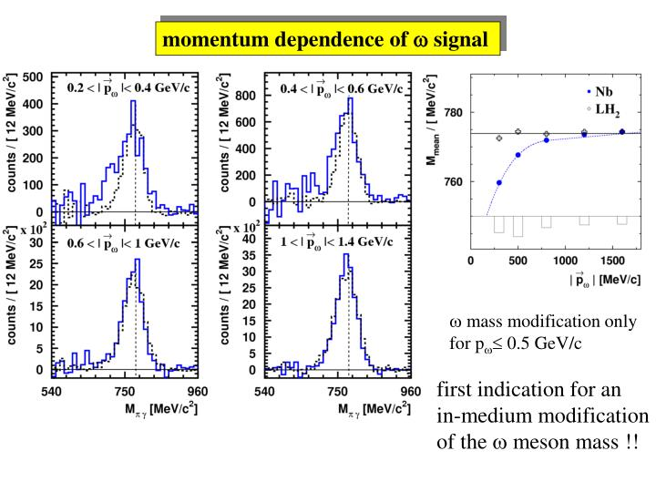 momentum dependence of