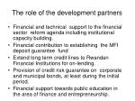 the role of the development partners