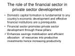 the role of the financial sector in private sector development
