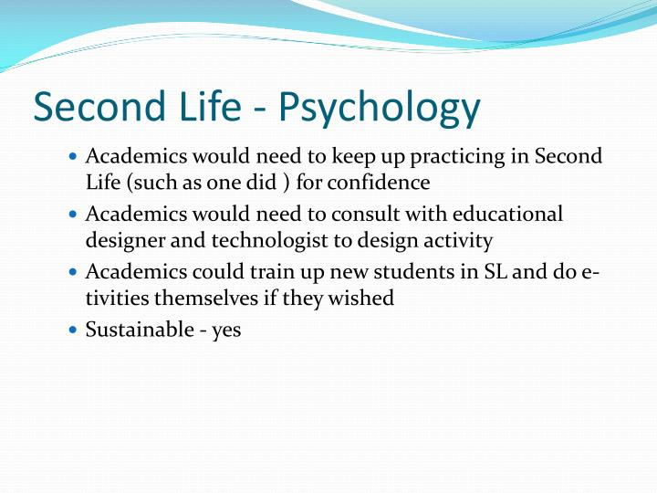 Second Life - Psychology