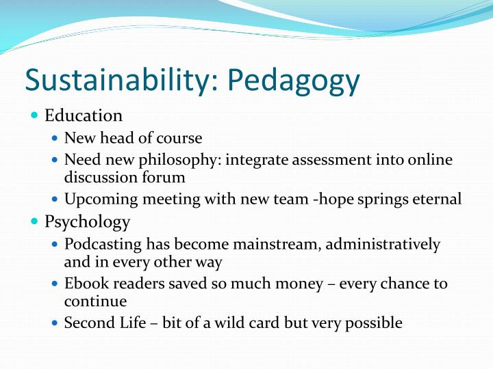 Sustainability: Pedagogy