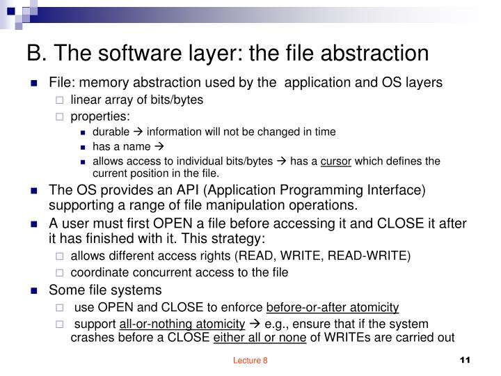 B. The software layer: the file abstraction