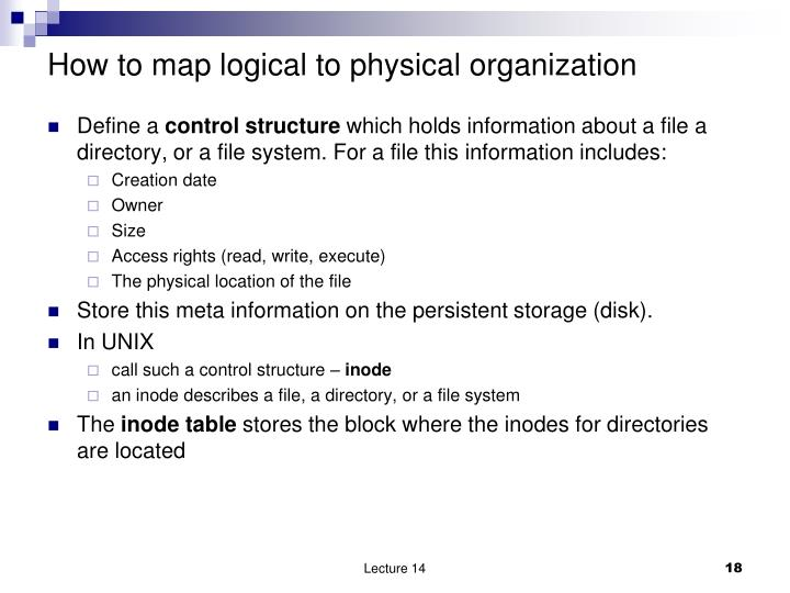 How to map logical to physical organization