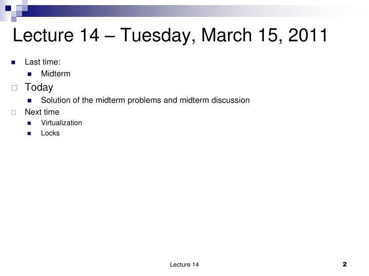 Lecture 14 tuesday march 15 2011