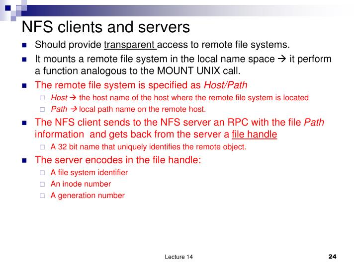 NFS clients and servers