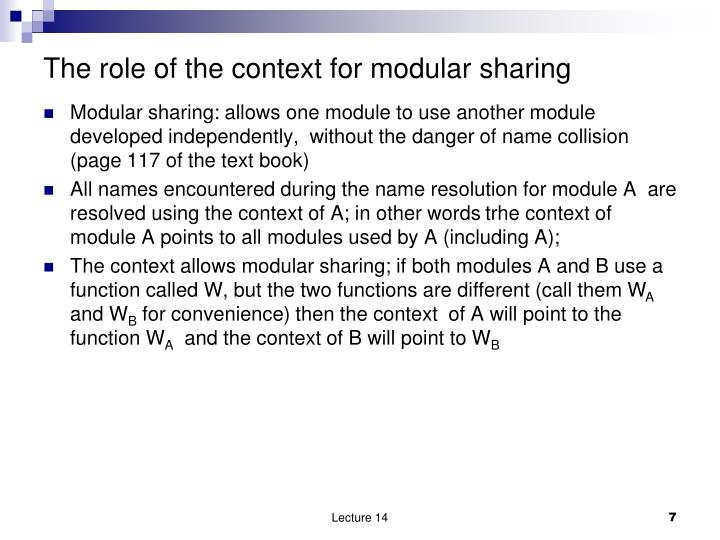 The role of the context for modular sharing