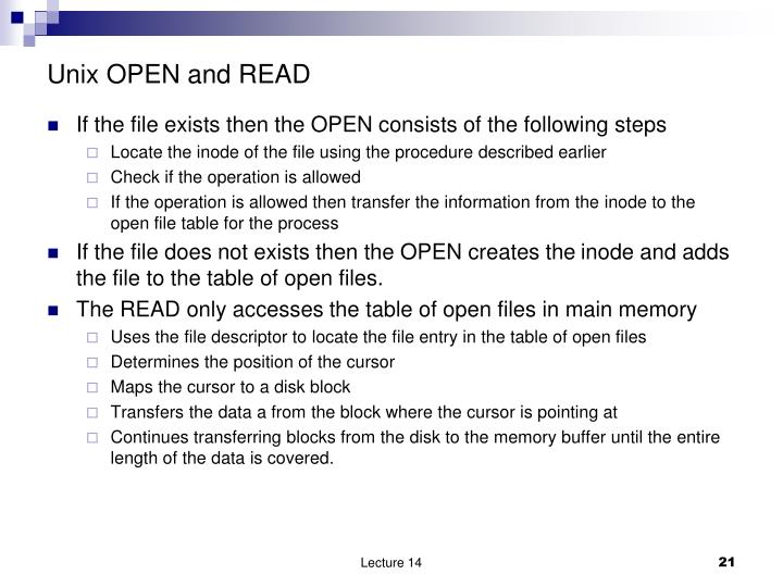 Unix OPEN and READ