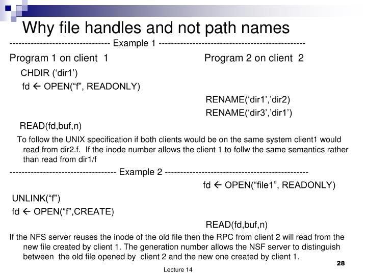Why file handles and not path names
