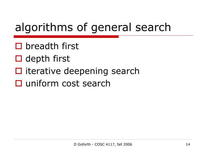 algorithms of general search
