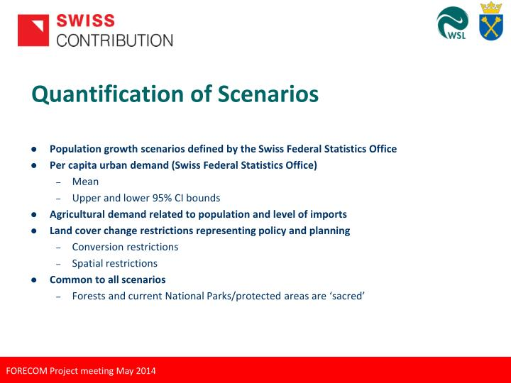 Quantification of Scenarios