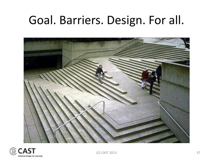 Goal. Barriers. Design. For all.