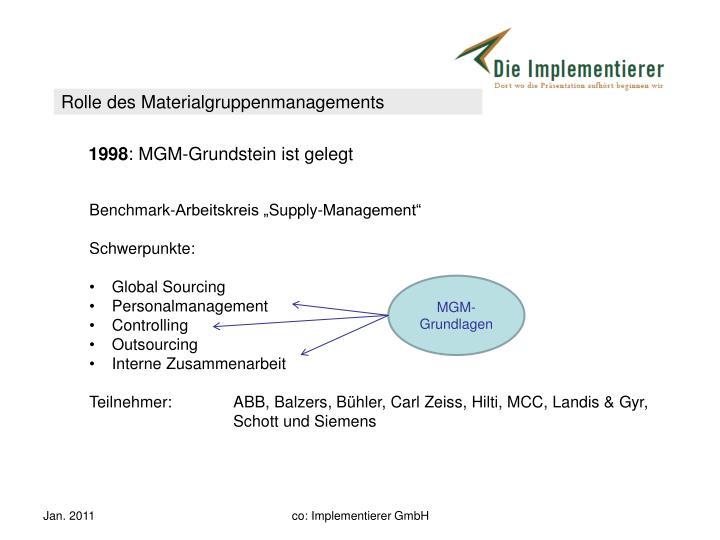 Rolle des Materialgruppenmanagements