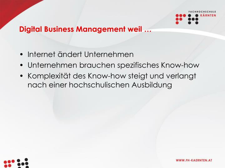 Digital Business Management weil …