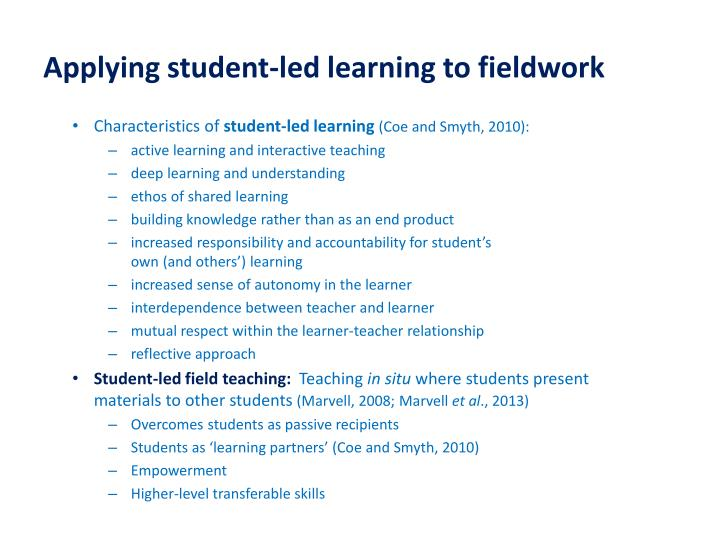 Applying student-led learning to fieldwork