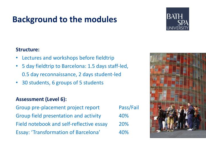 Background to the modules