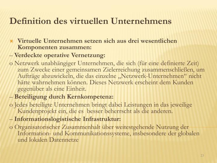 Definition des virtuellen Unternehmens