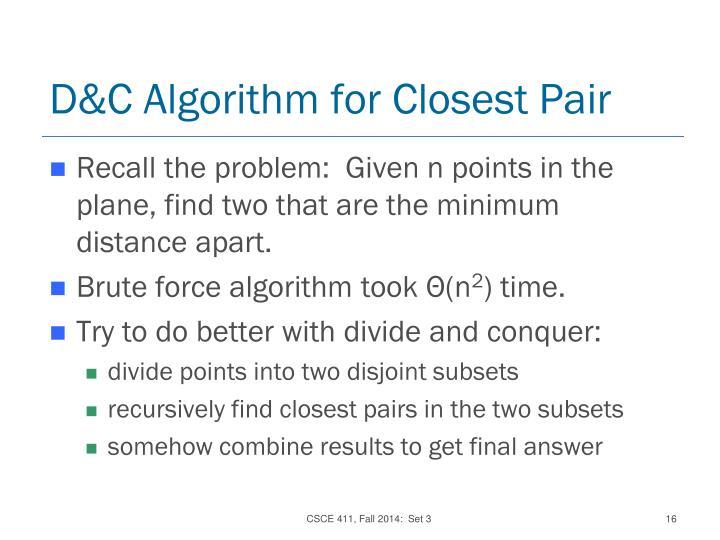 D&C Algorithm for Closest Pair