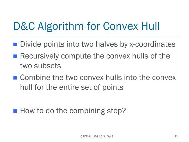 D&C Algorithm for Convex Hull