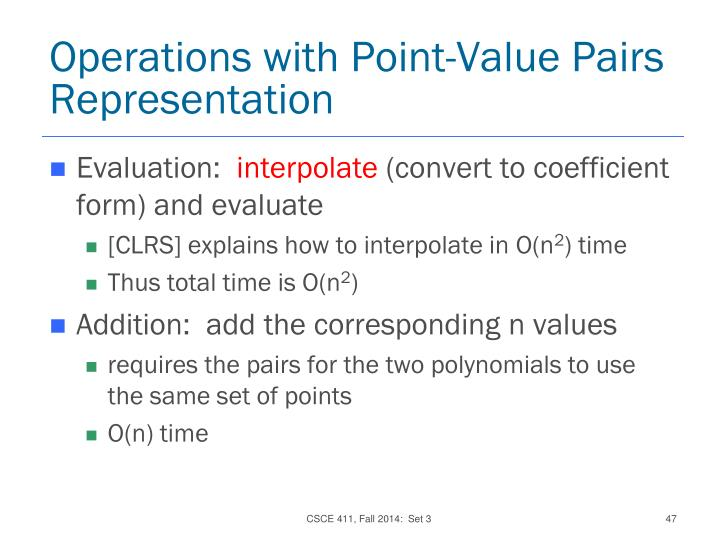 Operations with Point-Value Pairs Representation