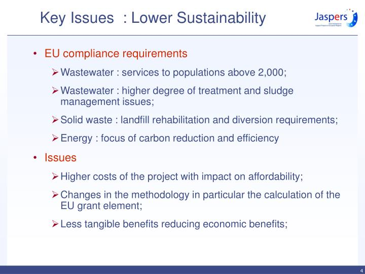 Key Issues  : Lower Sustainability