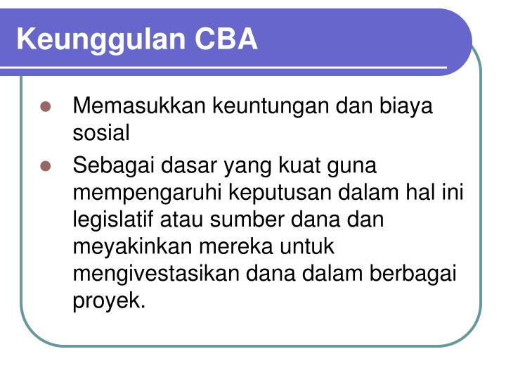 Keunggulan CBA