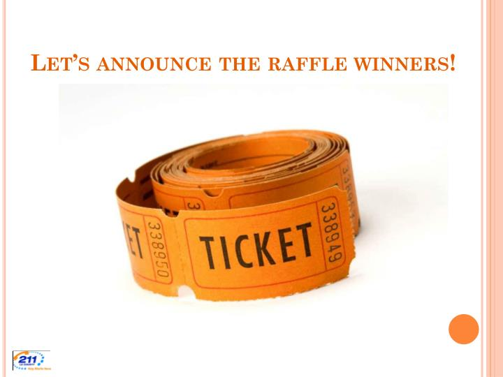Let's announce the raffle winners!