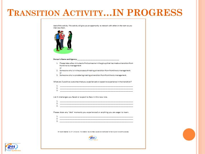 Transition Activity…IN PROGRESS