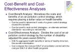 cost benefit and cost effectiveness analyses