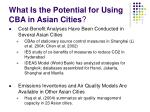 what is the potential for using cba in asian cities