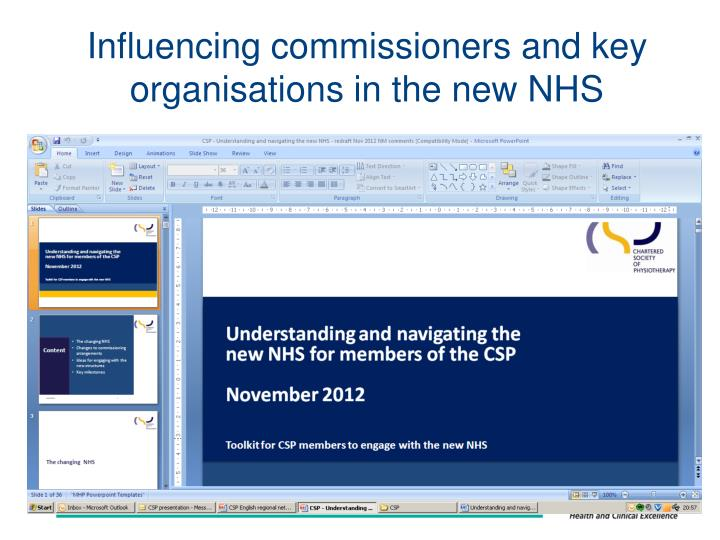 Influencing commissioners and key organisations in the new NHS