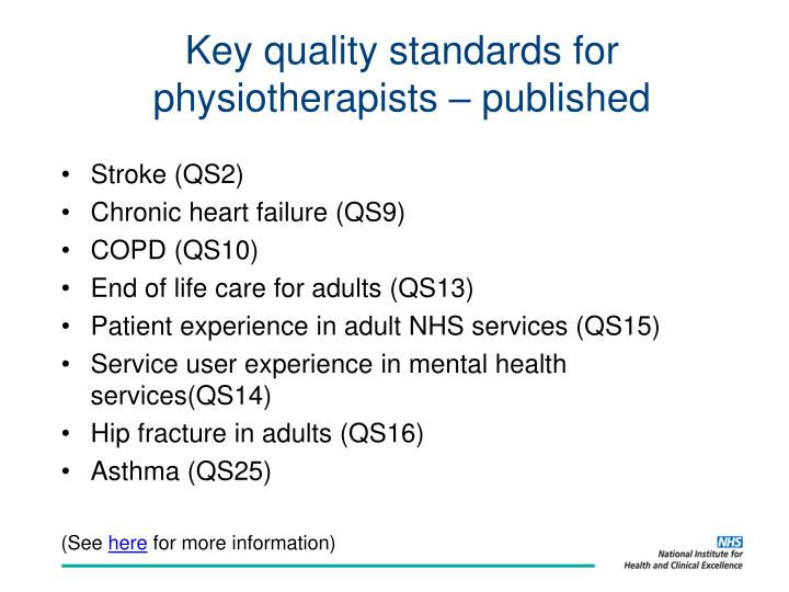 Key quality standards for physiotherapists – published