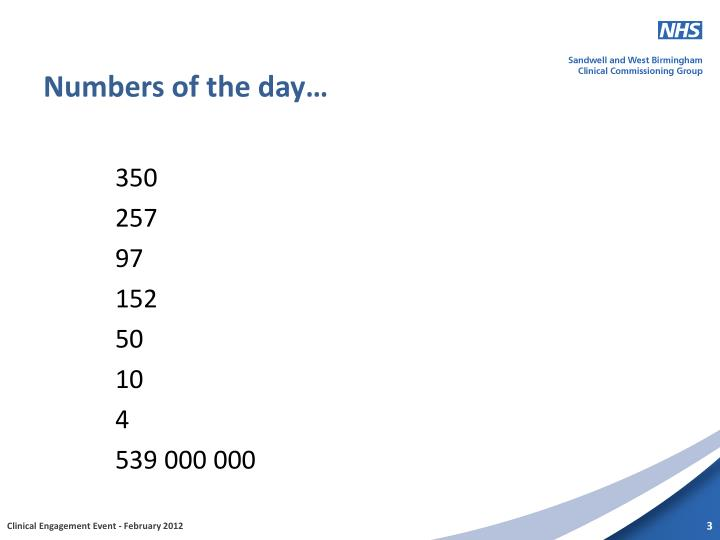 Numbers of the day