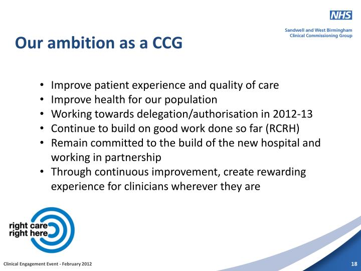 Our ambition as a CCG