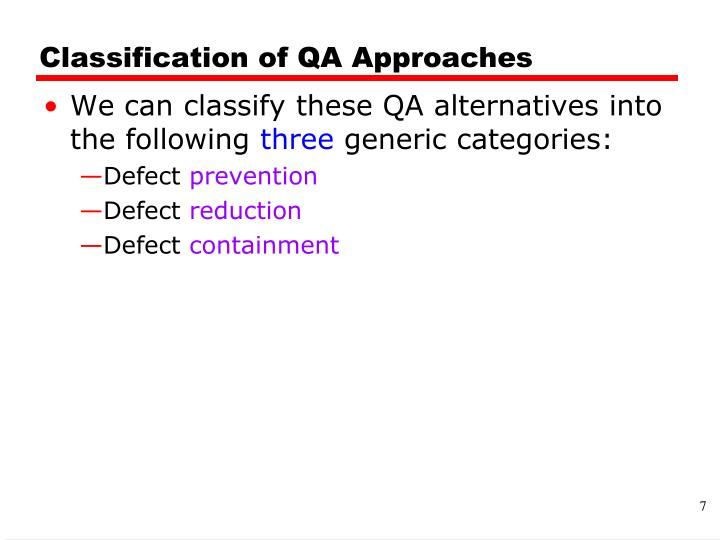 Classification of QA Approaches