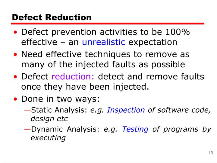 Defect Reduction