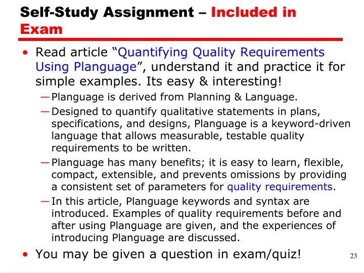 Self-Study Assignment –