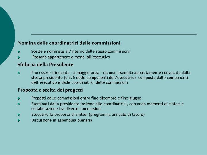 Nomina delle coordinatrici delle commissioni