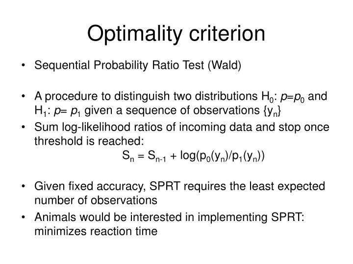 Optimality criterion