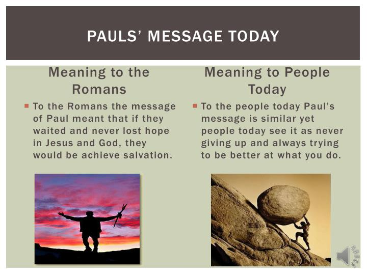 Pauls' Message Today