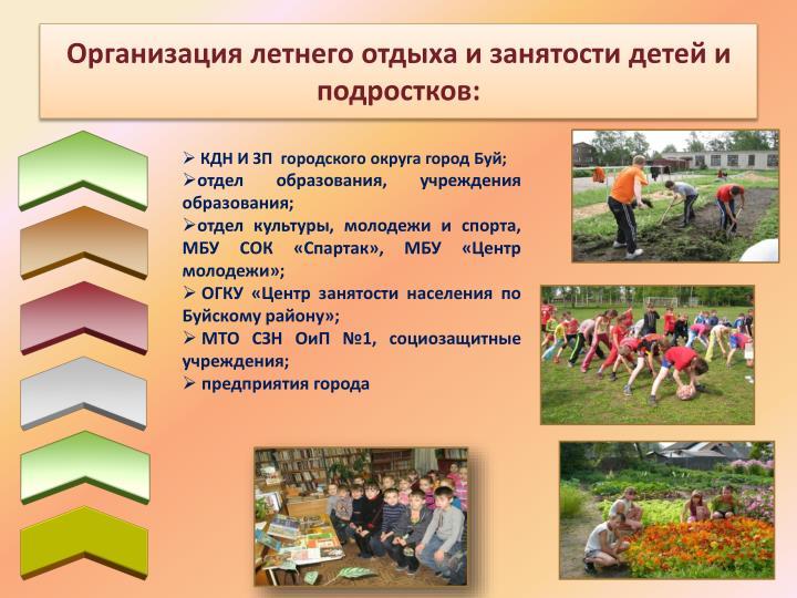 Организация летнего отдыха и занятости детей и подростков: