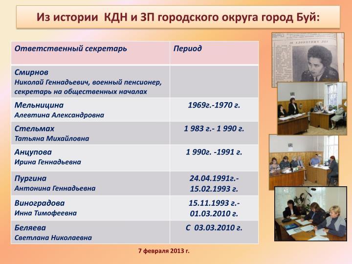 Из истории  КДН и ЗП городского округа город Буй: