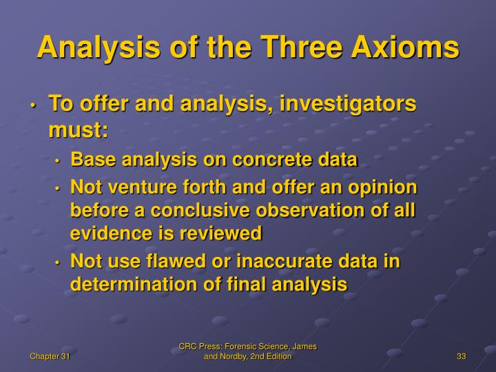 Analysis of the Three Axioms