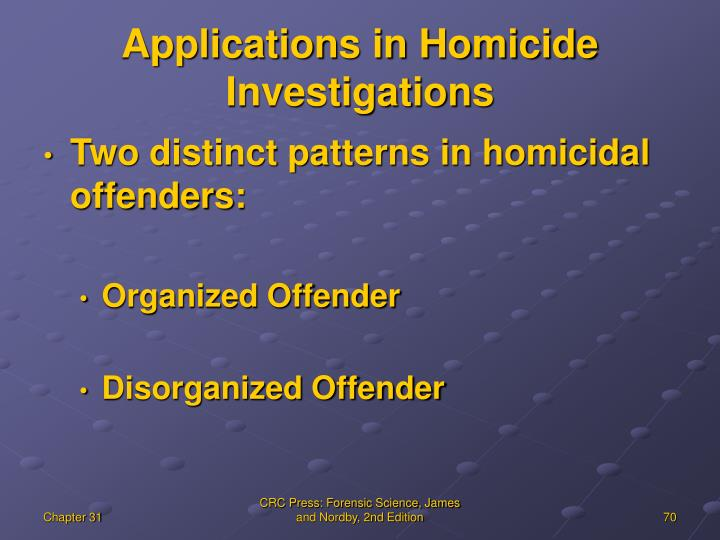 Applications in Homicide Investigations