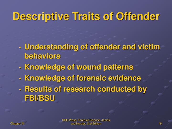 Descriptive Traits of Offender