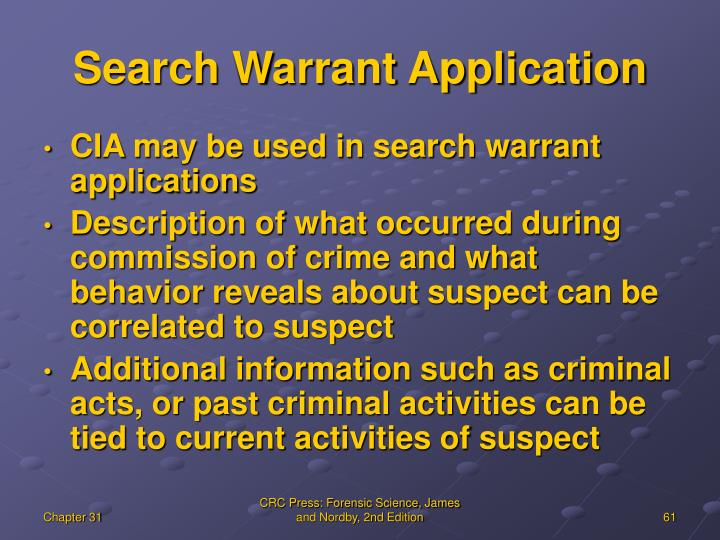 Search Warrant Application