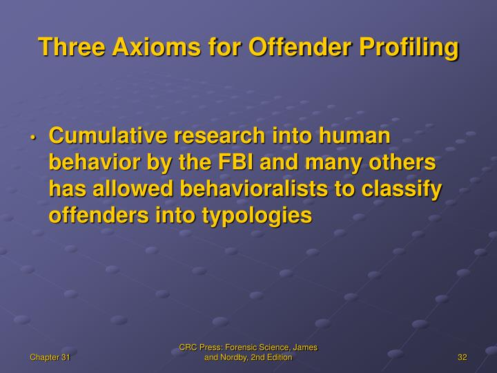 Three Axioms for Offender Profiling